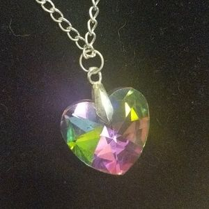 Huge Glass  multicolored Crystal Heart 18 in chain